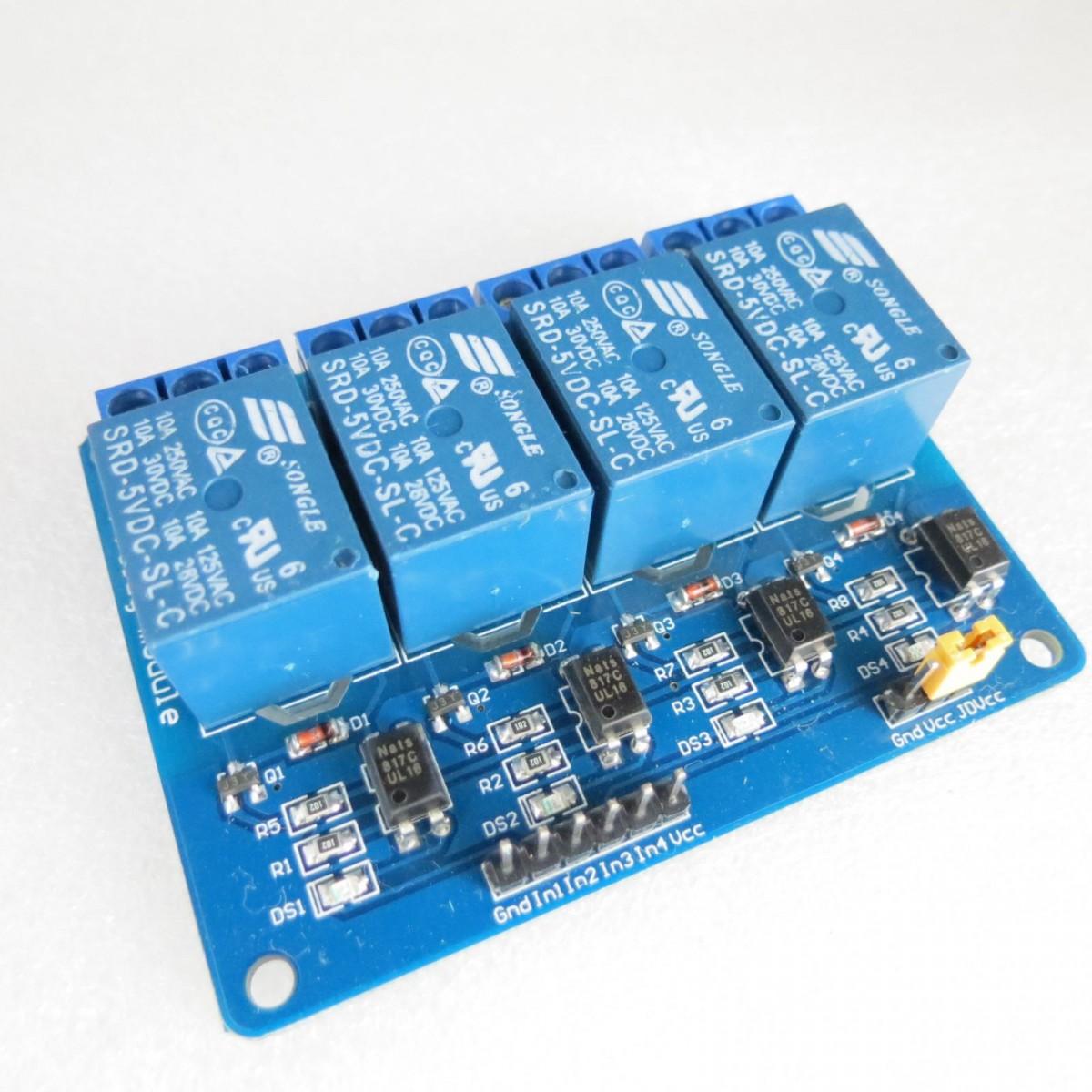 Релейный модуль с опторазвязкой 4 реле 5V
